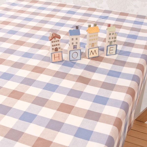 더스케치:파스텔선염체크 (블루브라운3cm) 식탁보