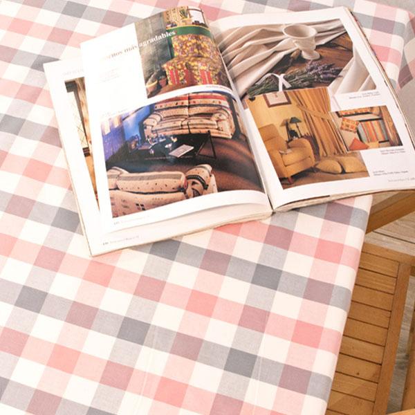 더스케치:파스텔선염체크 (핑크그레이3cm) 식탁보
