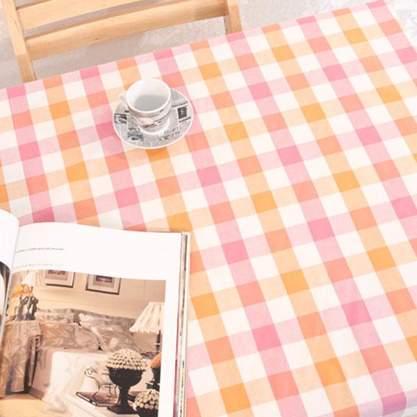 더스케치:선염투톤체크 (옐로우핑크3cm) 식탁보