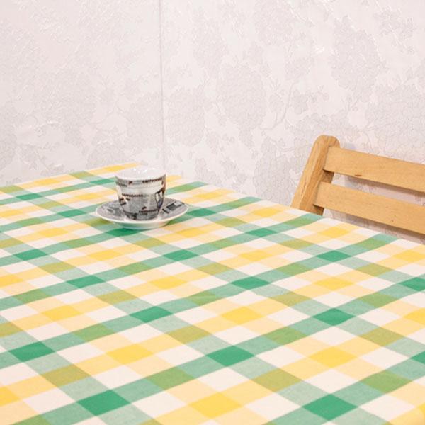 더스케치:선염투톤체크 (옐로우그린3cm) 식탁보