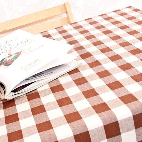 더스케치:선염체크 (브라운3cm) 식탁보