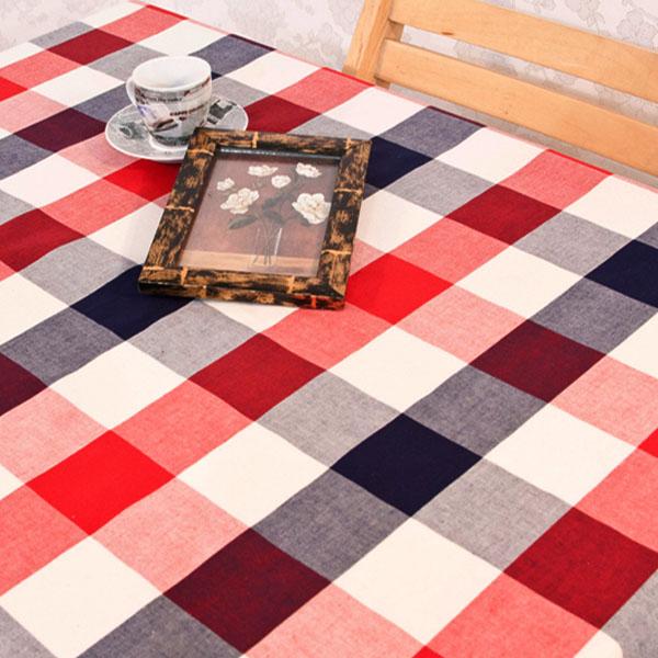 더스케치:선염투톤체크 (레드네이비6cm) 식탁보