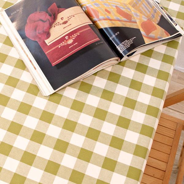 더스케치:선염체크 (그린3cm) 식탁보