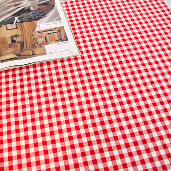 더스케치:선염체크 (레드1cm) 식탁보