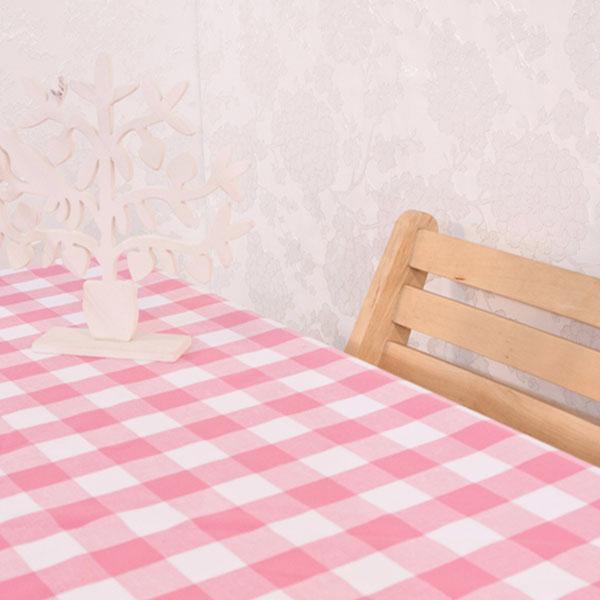 더스케치:선염체크 (핑크3cm) 식탁보