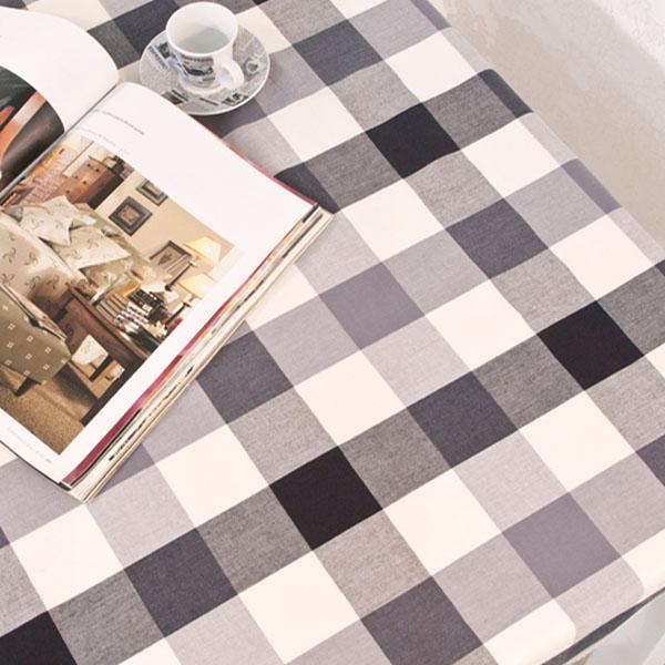더스케치:선염투톤체크 (블랙그레이6cm) 식탁보