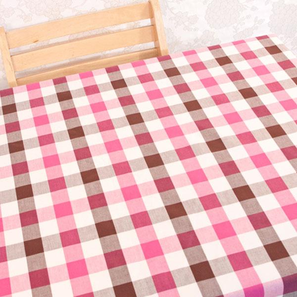 더스케치:선염투톤체크 (핑크브라운3cm) 식탁보