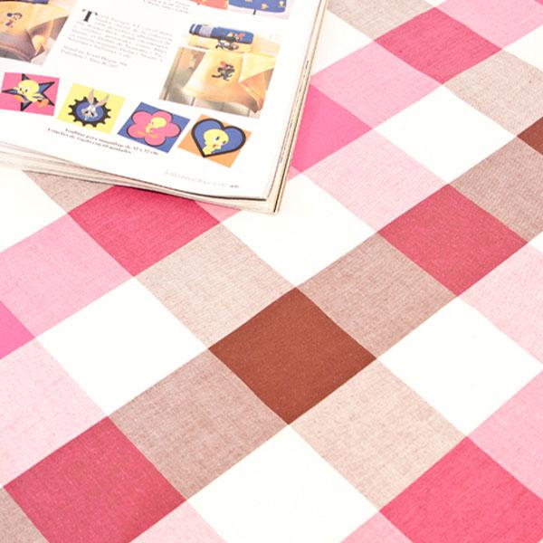 더스케치:선염투톤체크 (핑크브라운6cm) 식탁보